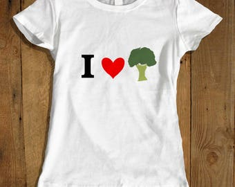 Women's I Love Broccoli T-shirt - Broccoli Lovers Shirt - Vegan Broccoli Vegetable T-shirt for Her - Herbivore T-shirt - Funny Broccoli Tee