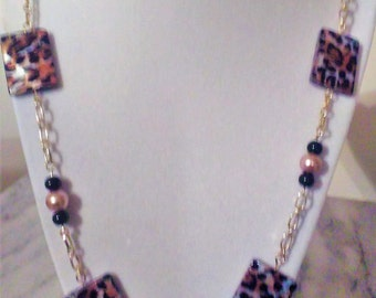 Leopard Print Bead Necklace