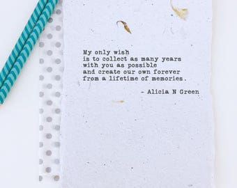 First Anniversary Gift for Him or Her | Paper Anniversary Gift for Women | Soulmates Poem | Love Poem | My Wish by Alicia N Green