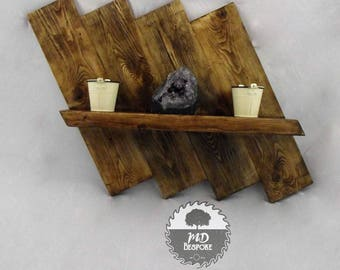 wall shelf - wooden - hallway - living room - shelves - pine - shelving - wood - Display unit - rustic - waxed -