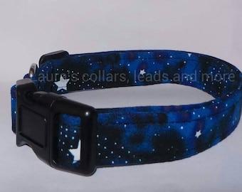 Handmade glow in the dark fabric dog collar , dog collar , glow in the dark , adjustable , small , medium , large , star , stars