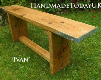 Handmade Rustic Industrial Bench made from Recycled Reclaimed Scaffold Boards