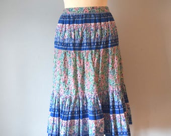 Vintage Printed Floral Skirt / High-Waisted / Accordion Pleats / Pink, Blue, Green / A Line / Woman / XS
