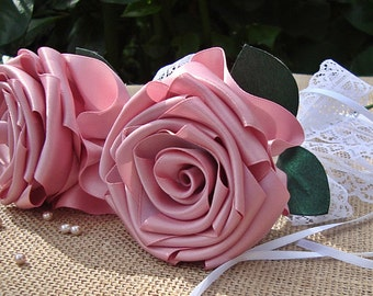 Flowergirl Wedding Rose flowergirl,pink ribbon rose  bridal shower rose