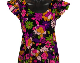 Vintage Psychedelic Flower Patterned Tie Up Swing Top