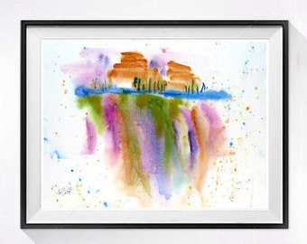 Soft Abstract Painting, Original watercolor, Abstract landscape, Modern abstract painting, Drip art, Orange painting, ZippArtCo, 15 x 20 in