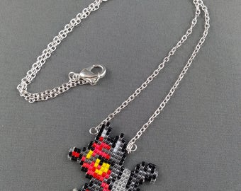 Litten Necklace - Pokemon Necklace Pokemon Jewelry Pixel Necklace Video Game Necklace 8bit Jewelry Geeky Gifts Anime Necklace