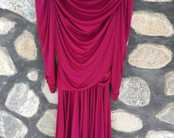 Figure Flattering 1980's Wine Colored Dress