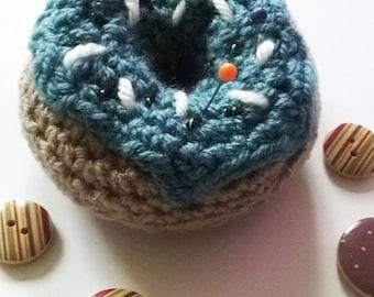 Crochet Doughnut - Crochet Doughnut Pincushion - Doughnut Pincushion - Blueberry Donut - Handmade Pincushion - Crochet Pincushion