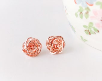 Rose Gold Earrings, Rose Earrings, Rose Studs, Flower Earrings, Nature Earrings, Wedding Jewellery, Bridesmaid Earrings, Birthday Gift
