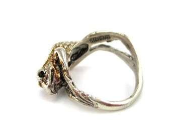 Custom Sterling Silver Frog Ring Size 6