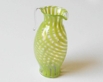 Vintage Blown Glass Green and Clear Miniature Creamer Pitcher