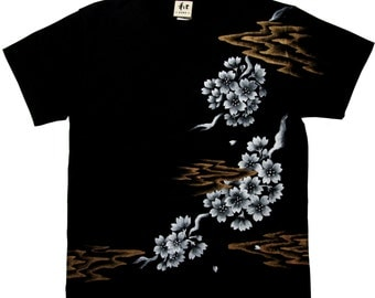 "T-shirt Men's  ""SAKURA"" Cherry Blossoms japan Flower hand-painted  M L XL 2XL Big size White Black made in Japan"