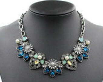 Izzy Blue & Green Crystal Choker Necklace