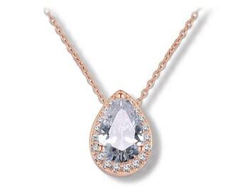 Rose Gold Dainty Small Pendant Cubic Zirconia Necklace Bride Bridesmaid