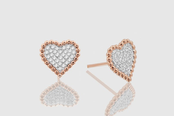 14k Solid Gold Womens Heart-Shaped Love Diamond Sparkling Uverly Earrings