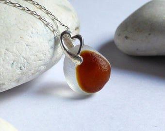 Brown Sea Glass Pendant, Seaglass Necklace, Sea Glass Jewelry, Heart Pendant, Sterling Silver, Seaglass Jewellery, Beach Heart - PJ17008
