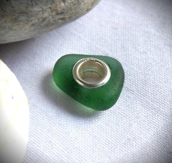 Sea Glass Charm, Sea Glass Bead, Charm Bead, Green Charm, Green Sea Glass, Green Bead, Sea Glass Jewellery, Charm Bracelet - CD17005