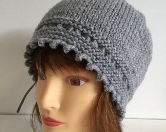 Womens Beanie Hats, Grey Hat, 1920s Hat, Vintage Style Hat, Ribbon Lace Hat, Handknit Wool Hat, Womens Skull Cap, Winter Knit Hat, Wool Gift