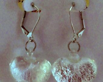 Dichroic Glass Heart Earrings