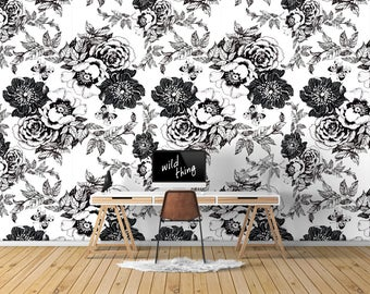 Mono Roses Wallpaper, Printed, Wall Decor, Removable Wallpaper, Watercolour