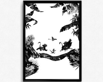 The Lion King inspired, Simba with Timon and Pumbaa, Zazu, Black and White Watercolor, Poster, gift, Print, Wall Art (307)