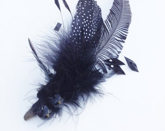 Feather hair clip; feather corsage; feather brooch; feather fascinator; wedding hair clip; wedding hair accessories; black feather clip