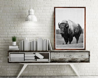 Buffalo Print, Buffalo Photography, Buffalo Nursery, Animal Print, Buffalo Wall Decor, Buffalo Black and White Photo, Modern Minimal Decor