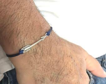 Mens Arrow Bracelet Mens Gift Mens Jewelry Gift for Boyfriend Gift for him Husband Gift  for Men Cord Bracelet Surfer Bracelet Mens Jewelry