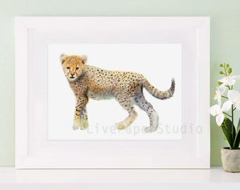 Nursery cheetah print, Watercolor cheetah art, Safari African Kids Wall Art print, Safari Nursery Decor, Cheetah Wall Art for Children