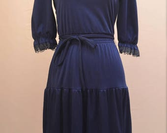 1970's Gypsy dress in dark blue with fill details in a UK size 6