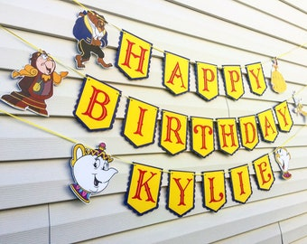 Beauty and The Beast Birthday Banner - Beauty and the Beast Birthday Party Decorations - Belle Birthday Party