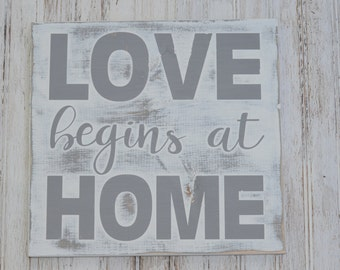 Love Begins At Home| Handmade Wood Sign|House Warming Gift|New Home Gift|Baby Shower|Wedding Gift|Mother's Day|Baby Shower|Anniversary