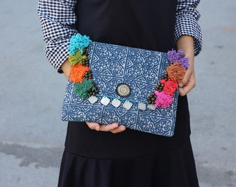 Batik Clutch With Colorful Threads & Vintage Coins