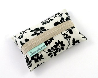 Floral Pocket Tissue Holder, Pocket Tissue Cover, Black Floral Kleenex Holder, Ladies Tissue Case, Tissue Pouch, Bridesmaid Gift