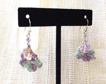 Pale Purple Crochet Earring. w/ Butterfly beads.