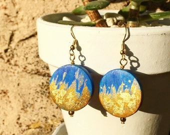 Cosmic Sand - Hand Painted on Wood Earrings