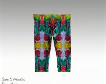 """Baby/Toddler Leggings by JRG Original Design - """"Kaleidoscope"""" in sizes: 6mo, 1yo, 2yo, 3yo (quick dry & antibacterial)"""