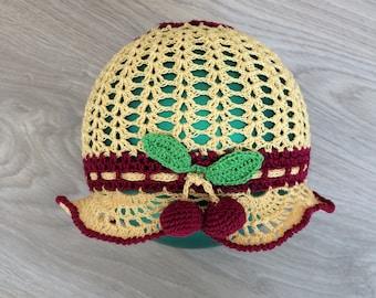 Crochet baby girl hat with cherries, summer hat, openwork hat