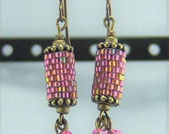 HE287, Peyote Stitch 'Vintage Rose' Earrings