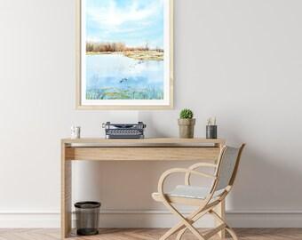 PRINTS, Bird Sanctuary, Canada, wall art, Canadian landscape watercolor print, Peaceful, office decor, landscape watercolor, landscape print