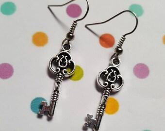 Key earrings, Key jewellery, Key, Dangle earrings, Pendant earrings, Drop earrings, Gifts for her