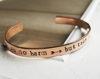 Do No Harm But Take No Shit Bracelet - Hand Stamped Jewelry - Motivational Quote Gift