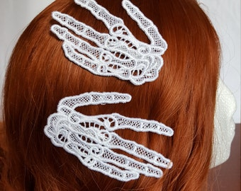 Embroidered Lace Skeleton Hand Hair Clips Any Color