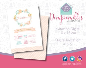 First Communion Girl, Invitation Printable, Invitation Digital, First Communion Peach
