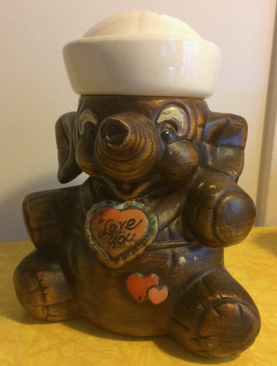 Items similar to sale amazing vintage sailor elephant cookie jar california original i love - Vintage elephant cookie jar ...