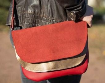 Red and gold lamb leather shoulder bag/handbag