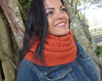 Winter Scarf, Infinity Scarf, Orange Wool Scarf, Bohemian Scarf, Warm Scarf, Women Scarf, Knit Infinity Scarf, knitted Women Fashion Scarf
