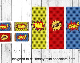 Super Hero Mini Candy Bar Wrappers - Birthday Mini Candy Bar Wrappers - Instant Download