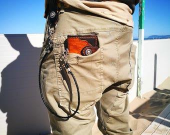 Handmade long biker wallet brown/black.